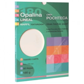 PAPEL OPALINA GOFRADA LINEAL MARFIL CON 50 CARTA