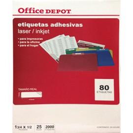 ETIQUETA LASER INKJET 1 3/4X1/2 OFFICE DEPOT 2000