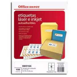 ETIQUETAS 4X3 1/3 LASER INKJET OFFICE DEPOT 150