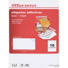 ETIQUETAS LASER INKJET 5.1X10.1 OFFICE DEPOT