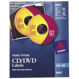 ETIQUETA CD/DVD INKJET BLANCA CON 40 AVERY
