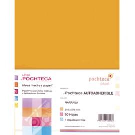 PAPEL AUTOADHERIBLE POCHTECA CARTA NARANJA CON 50