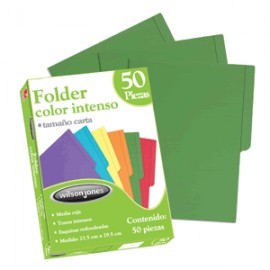 FOLDER CARTA WILSON JONES VERDE CON 50 PIEZAS