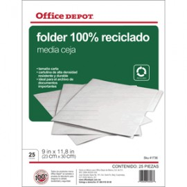FOLDER CARTA OFFICE DEPOT RECICLADO CON 25 PIEZAS