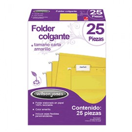 FOLDER COLGANTE WILSON JONES CARTA AMARILLO 25 PZS