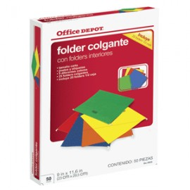 FOLDERS COLGANTES CARTA OFFICE DEPOT CON 25 PIEZAS