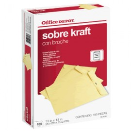 SOBRES DE PAPEL OFICIO OFFICE DEPOT CON BROCHE 100