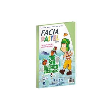PAPEL PASTEL COLOR VERDE CON 100 HOJAS FACIA