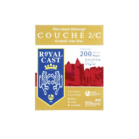 PAPEL COUCHE LINO BLANCO CON 200 HOJAS ROYAL CAST