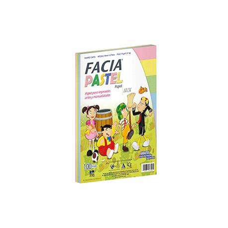 PAPEL COLORES PASTEL C/100 HOJAS FACIA