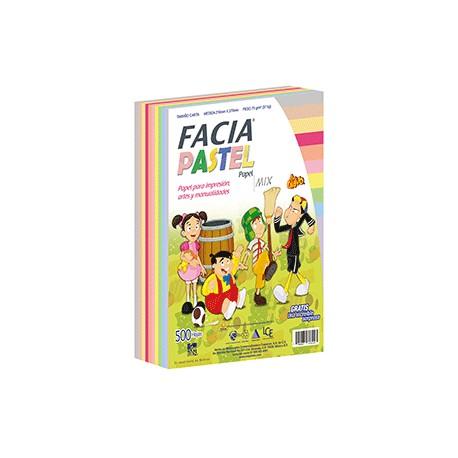 PAPEL PASTEL SURTIDO 10 COLORES CON 500 HOJAS FACIA