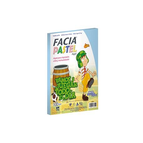 PAPEL PASTEL COLOR AZUL PAQUETE CON 100 HOJAS FACIA