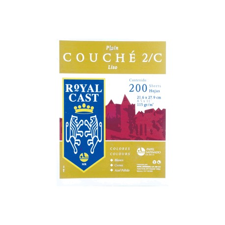 PAPEL COUCHE LISO BLANCO CON 200 HOJAS ROYAL CAST