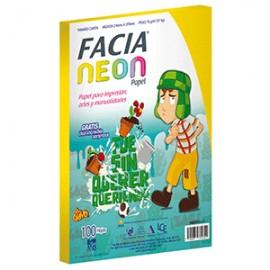 PAPEL NEON AMARILLO PAQ.CON 100 HOJAS FACIA