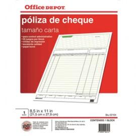 POLIZA CHEQUES OFFICE DEPOT CARTA 5 BLOCKS