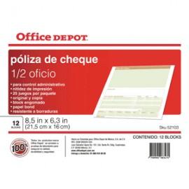 POLIZA CHEQUES OFFICE DEPOT 1/2 OFICIO CON 12