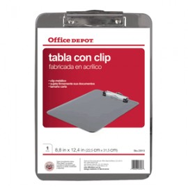 TABLA CON CLIP ACLILICO OFFICE DEPOT TAMANO CARTA