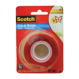 CINTA DE MONTAJE SCOTCH TRANSPARENTE 24MM X 1.5M
