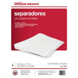 SEPARADORES INDICE OFFICE DEPOT 8 DIV BORRABLE
