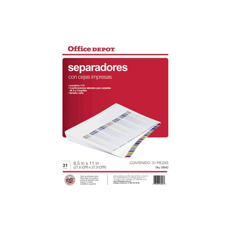 SEPARADORES INDICE OFFICE DEPOT 1-31