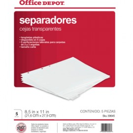 SEPARADORES INDICE OFFICE DEPOT 5 DIVISIONES TRANS