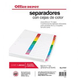 SEPARADORES INDICE OFFICE DEPOT 15 DIV S/NUM