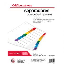 SEPARADORES INDICE OFFICE DEPOT 8 DIV NUMERADO