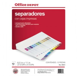 SEPARADORES INDICE OFFICE DEPOT ENE/DIC COLOR OD