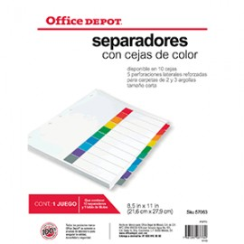 SEPARADORES INDICE OFFICE DEPOT OD 10 D S/NUMERO