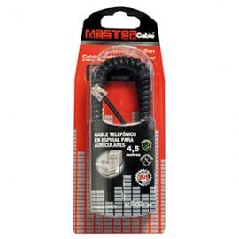 CABLE TELEFONICO ESPIRAL MASTER 4.5 METROS NEGRO