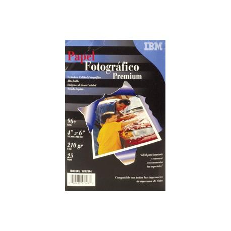 PAPEL FOTOGRAFICO ALTO BRILLO 4 X 6 25 HOJAS IBM