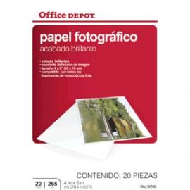 PAPEL FOTOGRAFICO 4 X 6 20 HOJAS OFFICE DEPOT