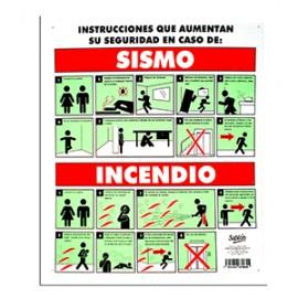 LETRERO QUE HACER EN CASO DE SISMO/INCENDIO SABLON